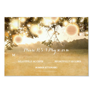Rustic Lanterns Romantic Wedding RSVP cards 9 Cm X 13 Cm Invitation Card