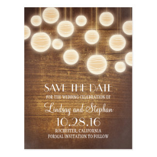 rustic lanterns wooden save the date postcards