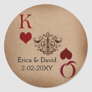 Rustic Las Vegas Wedding Cards Round Sticker