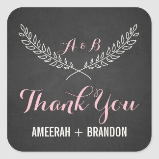 Rustic Laurel Wreath Monogram Thank You Sticker
