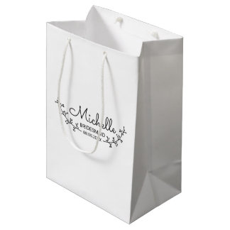 Rustic Laurels Personalized Bridesmaids Medium Gift Bag