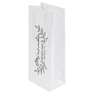 Rustic Laurels Personalized Bridesmaids Wine Gift Bag