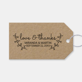 Rustic Laurels Wedding Favor Gift Tags
