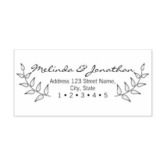 Rustic Laurels Wedding Rubber Stamp