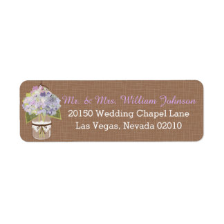 Rustic Lavender  Hydrangea Mason Jar Wedding Label
