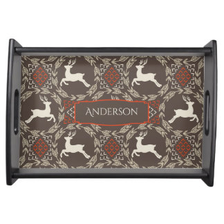 Rustic Leaping Deer with Monogram Serving Tray