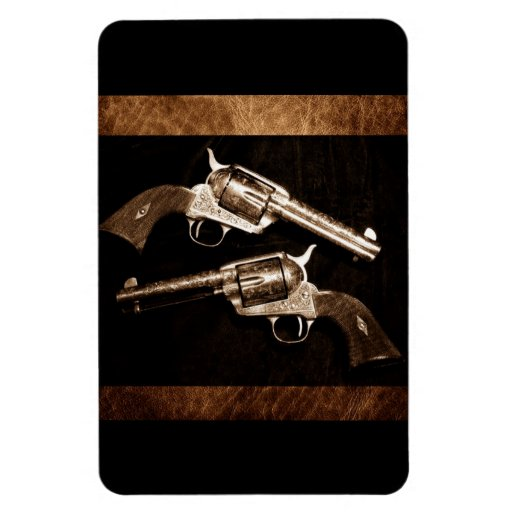 Rustic leather texture outlaw country pistols rectangular magnets