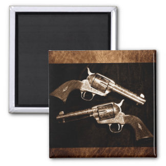 Rustic leather texture outlaw country pistols west square magnet