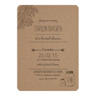 Rustic Leaves| Masonjar | Heart Bridal Shower Card