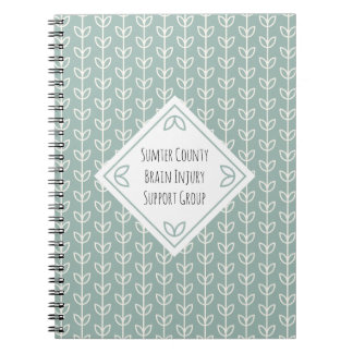 Rustic Leaves on Blue-Green Support Group Spiral Notebook