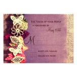 Rustic Leaves Purple Fall Wedding RSVP Cards Custom Invites