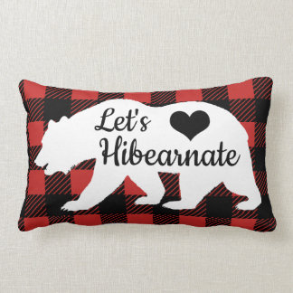 Rustic Let's Hibearnate Buffalo Lumberjack Plaid Lumbar Cushion