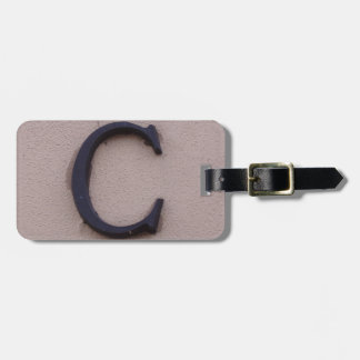 Rustic Letter C Luggage Tag
