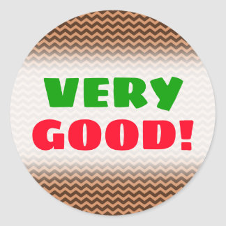 Rustic Light Brown & Dark Brown Wavy Pattern Classic Round Sticker