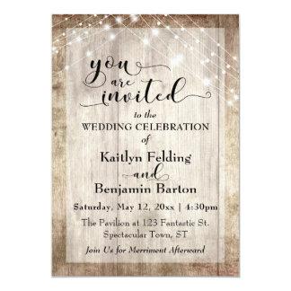 Rustic Light Brown Wood w/ Light Strings, Wedding Card