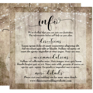 Rustic Light Brown Wood w/ Lights, Wedding Info Card