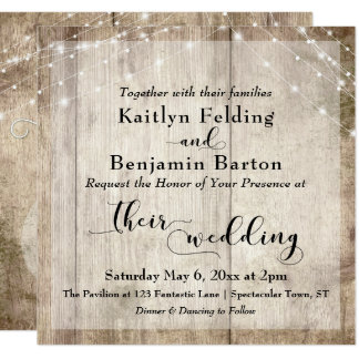 Rustic Light Brown Wood & White Lights Wedding Card