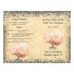 Rustic Light Coral Heart Leaf Tree Wedding Program 21.5 Cm X 28 Cm Flyer