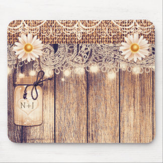 Rustic Lighted Mason Jars Daisies & Lace Computer Mouse Pad