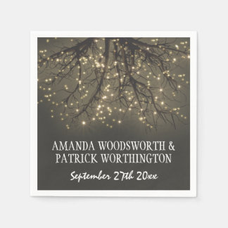 Rustic Lighted Tree Branch Country Wedding Napkins Disposable Napkins