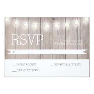 Rustic Lights - RSVP Card 9 Cm X 13 Cm Invitation Card