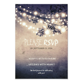 Rustic lights wedding RSVP cards 9 Cm X 13 Cm Invitation Card