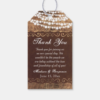 Rustic Lights Wedding Thank You Favour Tags