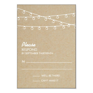 Rustic Lights White Response Card