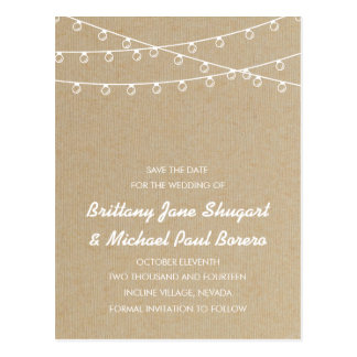 Rustic Lights White Save the Date Postcard