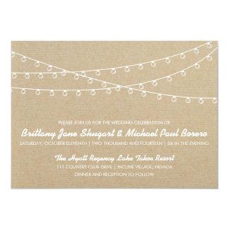 Rustic Lights White Wedding Invitation