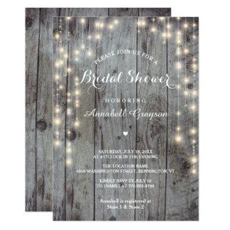 Rustic Lights Wood Bridal Shower Flat Card