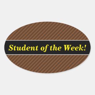 Rustic-Like Dark Brown & Lighter Brown Stripes Oval Sticker