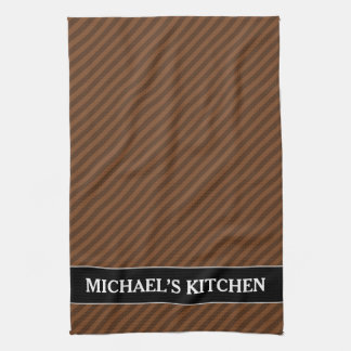Rustic-Like Dark Brown & Lighter Brown Stripes Tea Towel