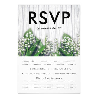 Rustic Lily of the Valley RSVP Menu Choice Card