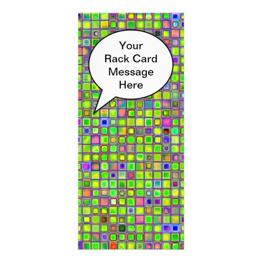 Rustic Lime Green Mosaic 'Clay' Tiles Pattern Personalized Rack Card