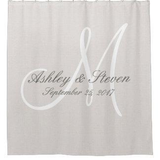 Rustic Linen and White Monogram Wedding Shower Curtain