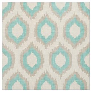 Rustic Linen Beige and Aqua Ikat Print Fabric