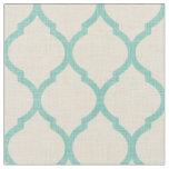 Rustic Linen Beige and Aqua Moroccan Quatrefoil Fabric