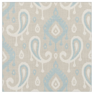 Rustic Linen Beige and Blue Ikat Paisley Fabric