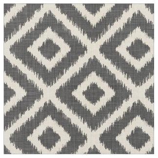 Rustic Linen Beige and Gray Ikat Diamonds Fabric