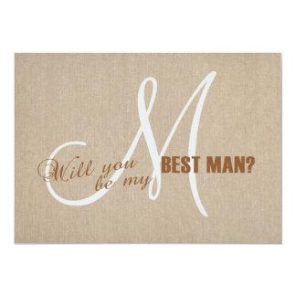 Rustic Linen Canvas Wedding Be My Best Man Invite