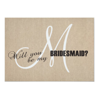 Rustic Linen Canvas Wedding Be My Bridesmaid Card