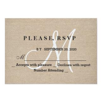 Rustic Linen Canvas Wedding Monogram Initial RSVP Card