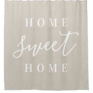Rustic Linen Home Sweet Home Shower Curtain