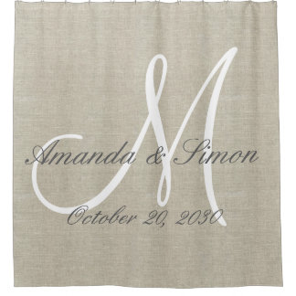 Rustic Linen Look and White Monogram Wedding Shower Curtain