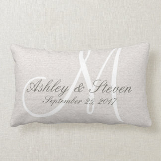 Rustic Linen Look with White Monogram Lumbar Pillow