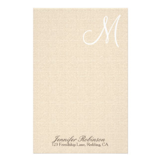 Rustic Linen Look with White Monogram Stationery