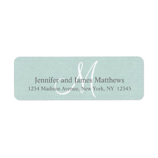 Rustic Linen Monogram for Weddings Return Address Label