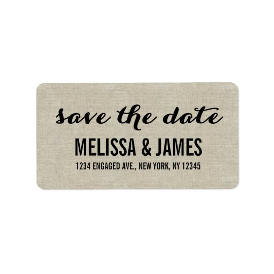 Rustic Linen Script Save the Date Address Label