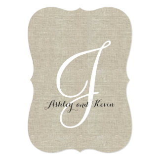 Rustic Linen Wedding Invitations Initial